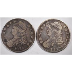 1819 FINE & 1824-FINE damaged BUST HALF DOLLARS