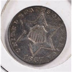1857 T-2 3-CENT SILVER, CHOICE AU ORIGINAL
