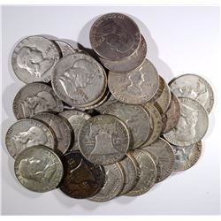 $15 FACE VALUE 90% SILVER FRANKLIN HALF DOLLARS