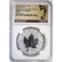 2016 BIGFOOT PRIVY CANADA SILVER $5 MAPLE LEAF