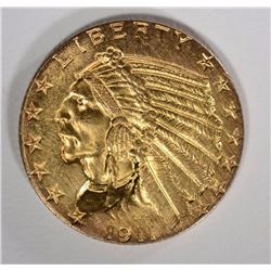 1911 $5 GOLD INDIAN CHICE BU
