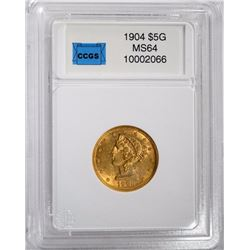 1904 $5 GOLD LIBERTY CCGS CHOICE/GEM BU