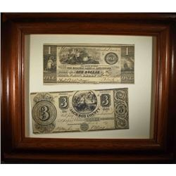 2 - BANK NOTES; 1838 $1 FARMERS BANK & 1837 $3