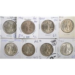 AU/BU WALKING LIBERTY 50c; 1945, 1939, 1937, 1942,