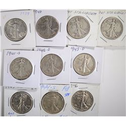 WALKING LIBERTY 50c; 1939, 1940, 2-1941, 1941-S,