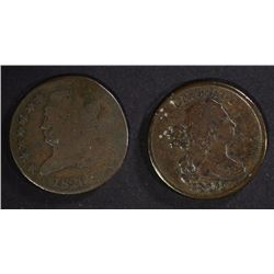 2 - HALF CENTS; 1804 F/VF & 1826 AG