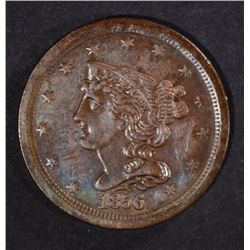 1856 HALF CENT GLOSSY-BROWN AU/UNC