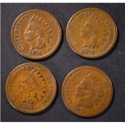 1873, 1874, 1875, 1876 INDIAN CENTS, G/VG