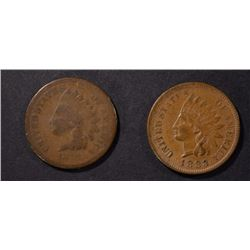 1878 GOOD & 1883 AU INDIAN CENTS