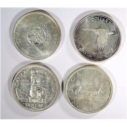 4 - CANADIAN SILVER DOLLARS; 1958, '64,'66,'67