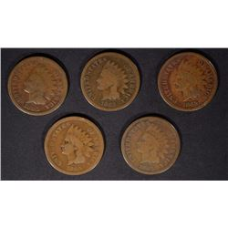 5 - 1865 INDIAN HEAD CENTS, GOOD/VG