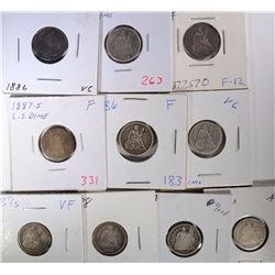 10 - CIRCULATED SEATED DIMES 1891 & OLDER