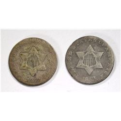 1852 & 1853 THREE CENT SILVER VG