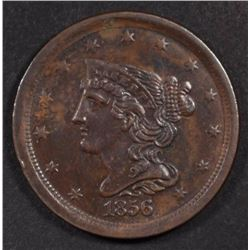 1856 BRAIDED HAIR HALF CENT, AU+