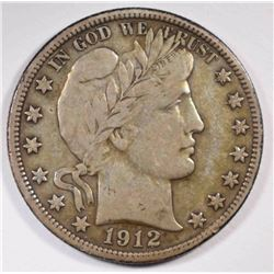 1912-S BARBER HALF DOLLAR, VF