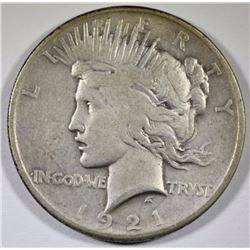 1921 PEACE SILVER DOLLAR, VF