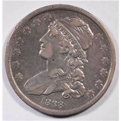 1838 CAPPED BUST QUARTER  VF+