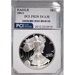 1992-S AMERICAN SILVER EAGLE PCI PERFECT GEM PROOF