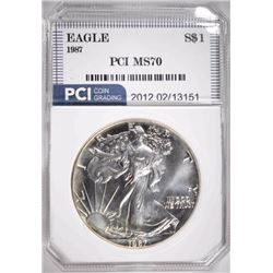 1987 AMERICAN SILVER EAGLE PCI PERFECT GEM BU