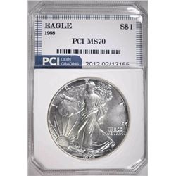 1988 AMERICAN SILVER EAGLE PCI PERFECT GEM BU