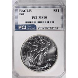 1989 AMERICAN SILVER EAGLE PCI PERFECT GEM BU