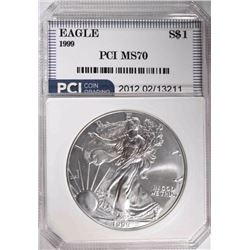 1999 AMERICAN SILVER EAGLE PCI PERFECT GEM BU