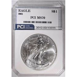 2001 AMERICAN SILVER EAGLE PCI PERFECT GEM BU