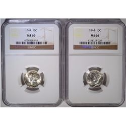 2 - 1944 MERCURY DIMES NGC MS 66