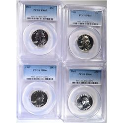 4 - 1961 WASHINGTON QUARTERS PCGS 2- PR66 &