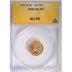 1915 $2.50 GOLD INDIAN ANACS AU 53