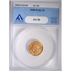 1925-D $2.50 GOLD INDIAN ANACS AU 55
