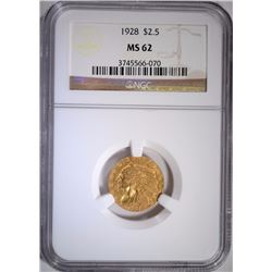 1928 $2.50 GOLD INDIAN NGC MS 62