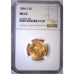 1886-S $5 GOLD LIBERTY NGC MS 62