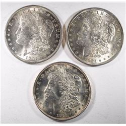 3 - BU 1921 MORGAN DOLLARS
