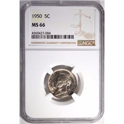1950 JEFFERSON NICKEL NGC MS 66
