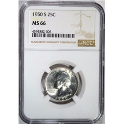 1950-S WASHINGTON QUARTER NGC MS-66