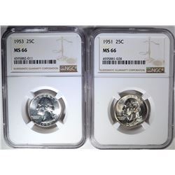 1951 & 53 WASHINGTON QUARTERS NGC MS-66