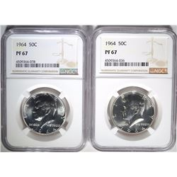 (2) 1964 KENNEDY HALF DOLLARS, BOTH NGC PF-67