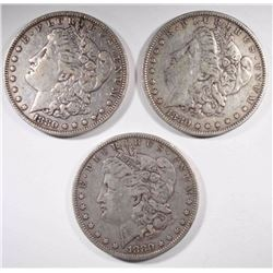 3-1880 MORGAN DOLLARS, VF/XF