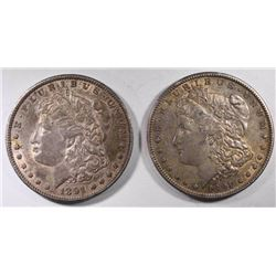 2-AU 1891-S MORGAN DOLLARS