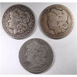 3-MORGAN DOLLARS CIRC: 1899-S, 1901-O & 1901-S