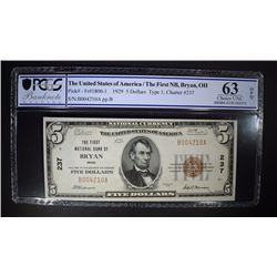 1929 $5 NATIONAL CURRENCY TYPE 1 PCGS 63-OPQ