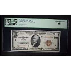 1929 $10 FEDERAL RESERVE BANK NOTE PCGS 64