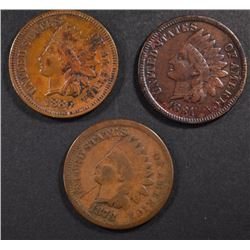 1878 GOOD, 1881 FINE & 1880 XF INDIAN CENTS