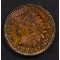1897 INDIAN CENT, CH BU SOME RED
