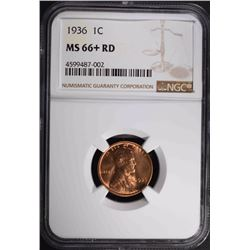 1936 LINCOLN CENT, NGC MS-66+ RED
