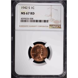 1942-S LINCOLN CENT, NGC MS-67 RED