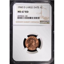 1960-D LARGE DATE LINCOLN CENT, NGC MS-67 RED