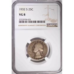 1932-S WASHINGTON QUARTER, NGC VG-8