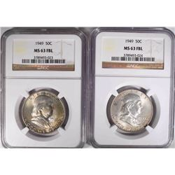 2-1949 FRANKLIN HALF DOLLARS, NGC MS-63 FBL